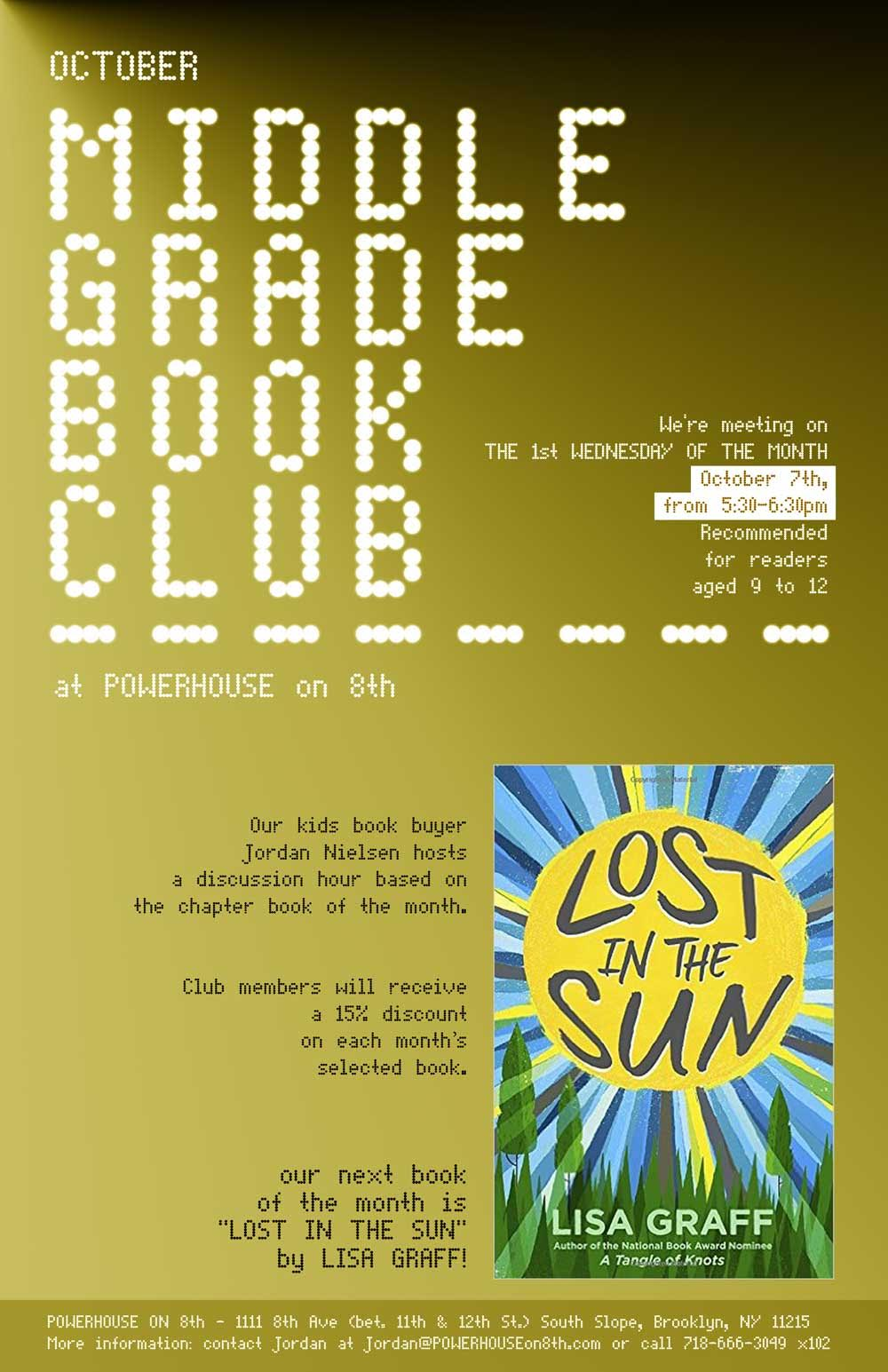 Middle Grade Book Club: Lost in the Sun by Lisa Graff